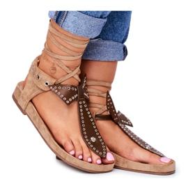 Lu Boo Damskie Brązowe Wiązane Sandały Japonki Mara