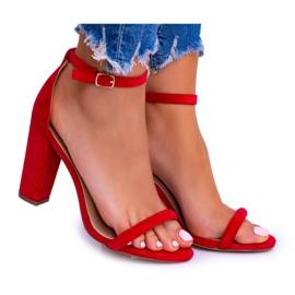 Lu Boo Zamszowe Czerwone Sandały Na Słupku Ripley