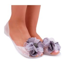 Lu Boo | Gumowe Balerinki Meliski Kwiatki Białe Candela