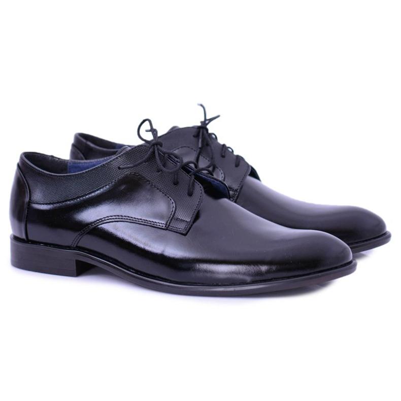 Bednarek Polish Shoes Męskie Półbuty Bednarek Eleganckie Skórzane Wizytowe Czarne Maksim