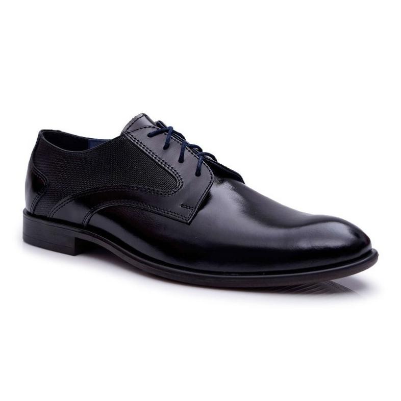 Bednarek Polish Shoes Męskie Półbuty Bednarek Eleganckie Skórzane Wizytowe Czarne Midas