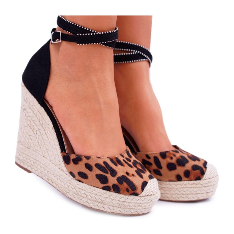 FB2 Sandały Damskie Na Koturnie Lniane Leopard Canterola brązowe czarne