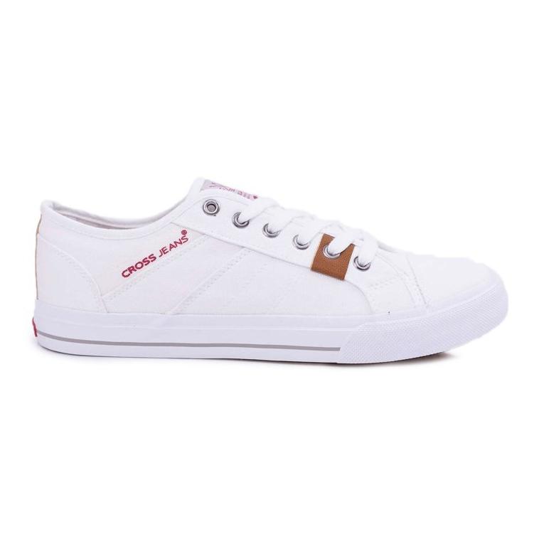 Trampki Męskie Cross Jeans Klasyczne Materiałowe Białe DD1R4029