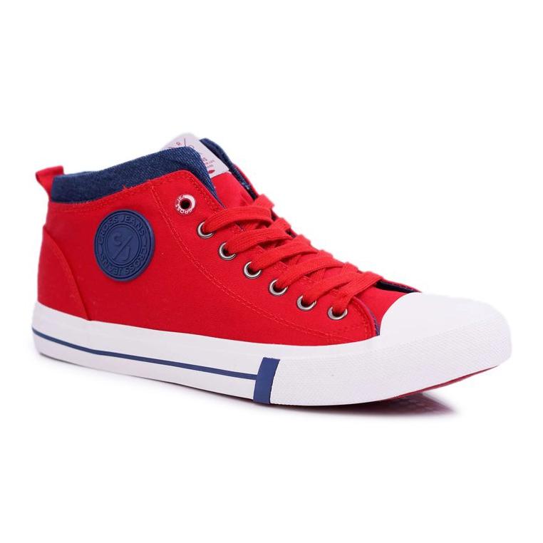 Trampki Męskie Cross Jeans Wysokie Materiałowe Czerwone DD1R4059