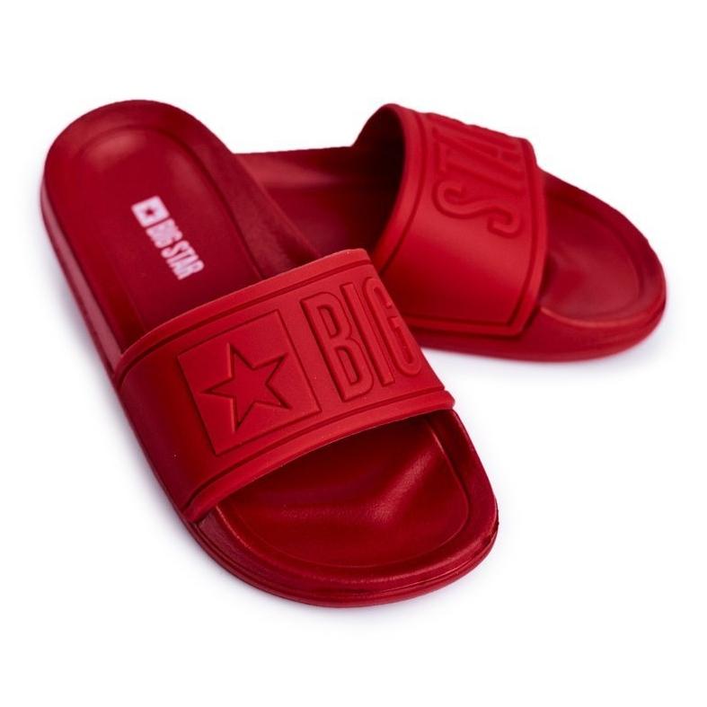 Klapki Dziecięce Młodzieżowe Big Star Czerwone DD374156