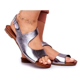 Damskie Sandały Laura Messi 1116 Skórzane Metaliczne Vollare wielokolorowe szare