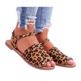 Damskie Sandały Lu Boo Zamszowe Leopard Silena brązowe