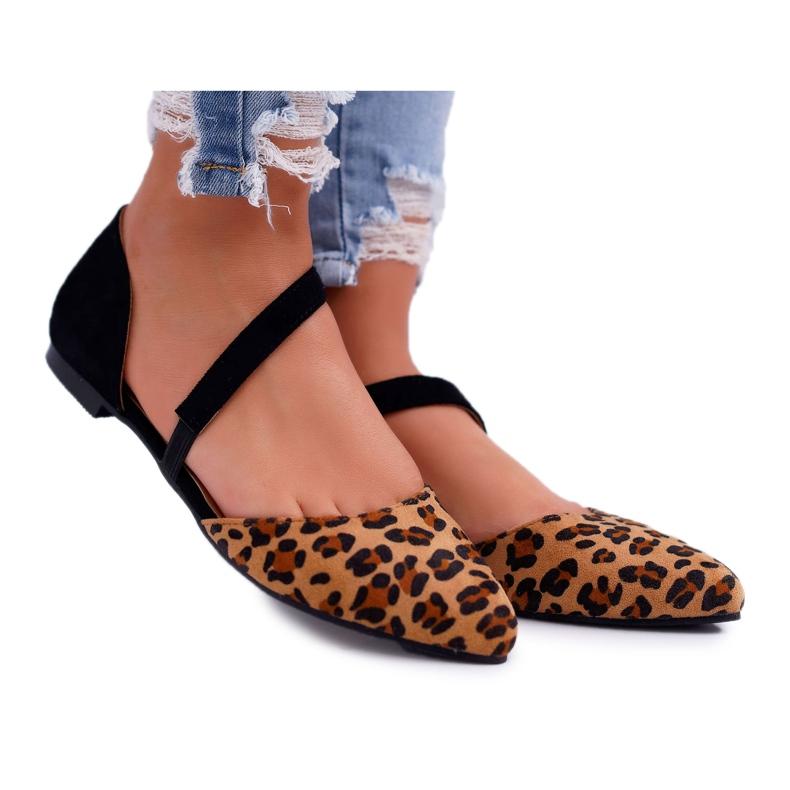 Lu Boo Baleriny W Szpic Zamsz Leopard Carana brązowe czarne