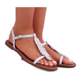 Sandały Damskie Płaskie Skórzane Srebrne Nicole 2383 szare