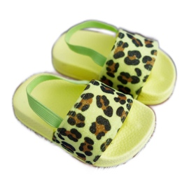 FRROCK Dziecięce Klapki Dziewczęce Brokat Leopard Limonkowe Rimia wielokolorowe zielone
