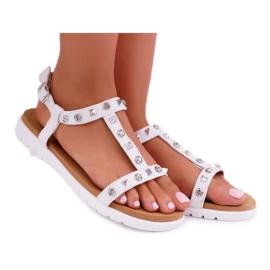 Damskie Sandały Białe Lu Boo z Ćwiekami Mariachi
