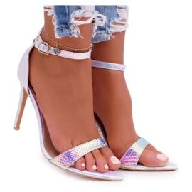 Sandały Damskie Na Szpilce Lu Boo Opalizujące Benzynowe Debbi wielokolorowe różowe