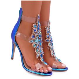 Sandały Damskie Na Szpilce Lu Boo Benzynowe 2047-89 Milleni niebieskie