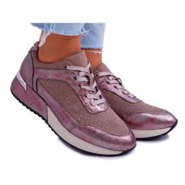 Damskie Sportowe Buty Beżowe Sergio Leone Ondar brązowe różowe