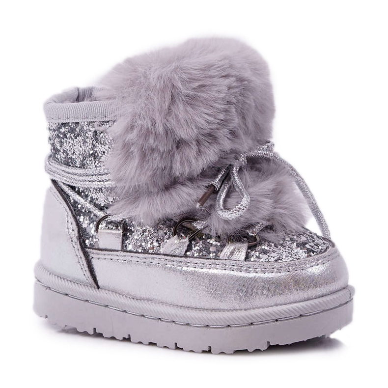 FRROCK Dziecięce Botki Śniegowce Z Futerkiem Srebrne Minnie Mouse szare
