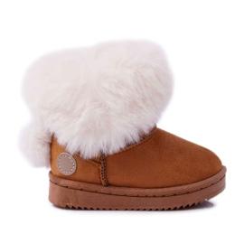 FRROCK Dziecięce Botki Śniegowce z Futerkiem Camel Kiks brązowe