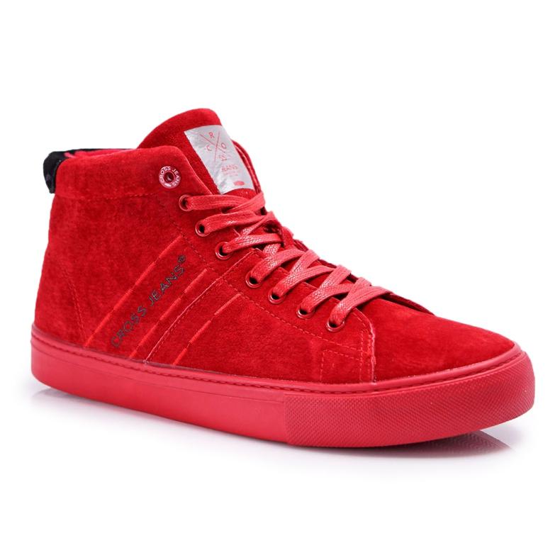 Trampki Męskie Cross Jeans Wysokie Skóra Zamsz Czerwone EE1R4055C