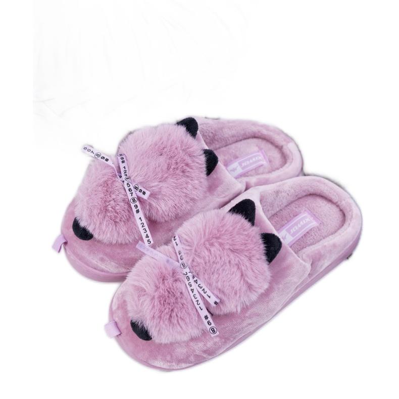 BUGO Papcie Damskie Z Futerkiem Kotek Różowe Kitty
