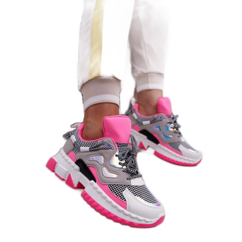 SEA Sportowe Damskie Buty Kolorowe Wstawki Fuksja Colored różowe wielokolorowe