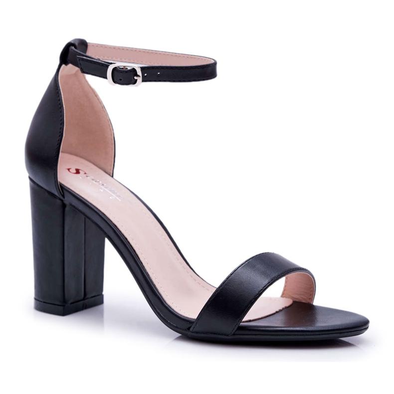 PS1 Sandały Damskie Na Słupku Klasyczne Czarne Fiji