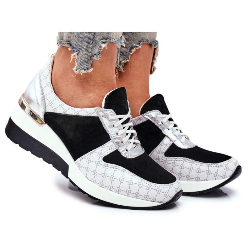 Obuwie Sportowe Sneakersy Damskie Skórzane Nicole 2468 Besty białe czarne