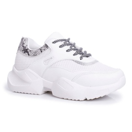 SEA Sportowe Damskie Buty Wężowe Białe Giselle