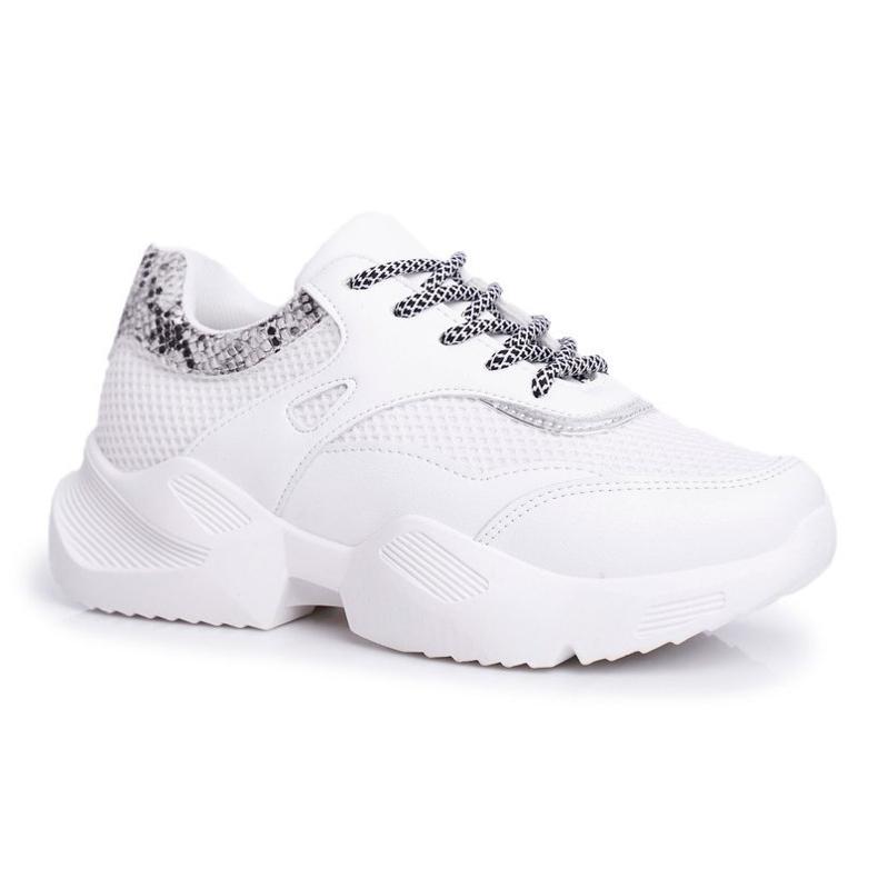 PS1 Sportowe Damskie Buty Wężowe Białe Giselle