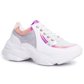 BUGO Sportowe Damskie Buty Brokatowe Białe Vebi