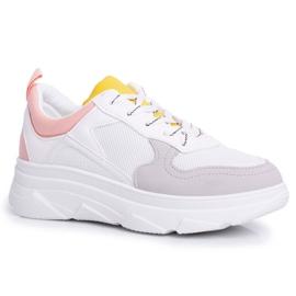 BUGO Sportowe Damskie Buty Różowo Białe Fresno
