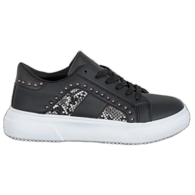 SHELOVET Modne Sneakersy Na Platformie czarne