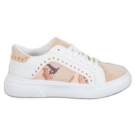 SHELOVET Modne Sneakersy Na Platformie białe brązowe