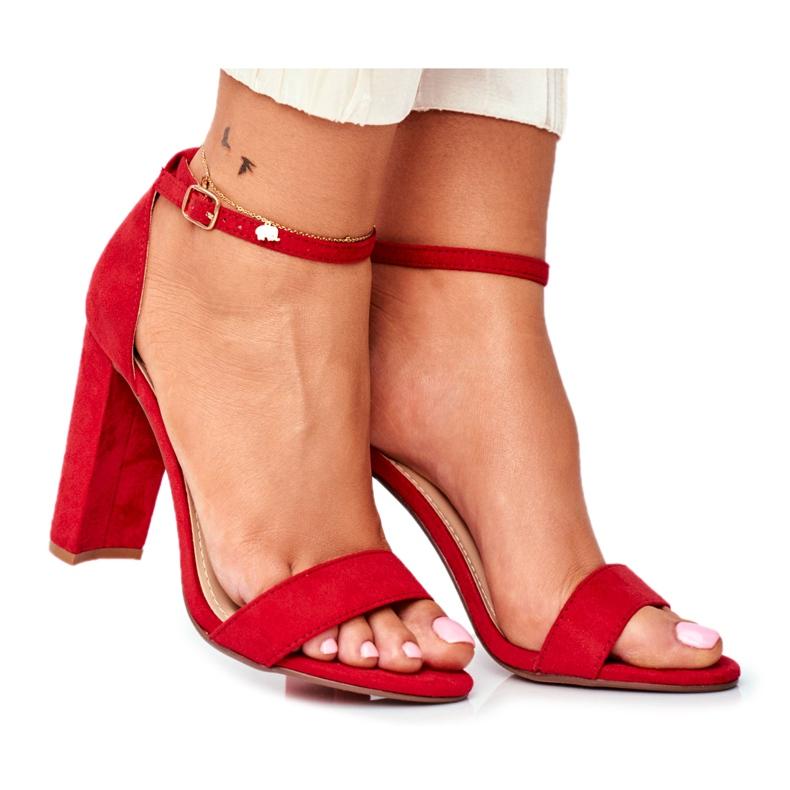 FW1 Sandały Damskie Na Słupku Zamszowe Czerwone Anastasie