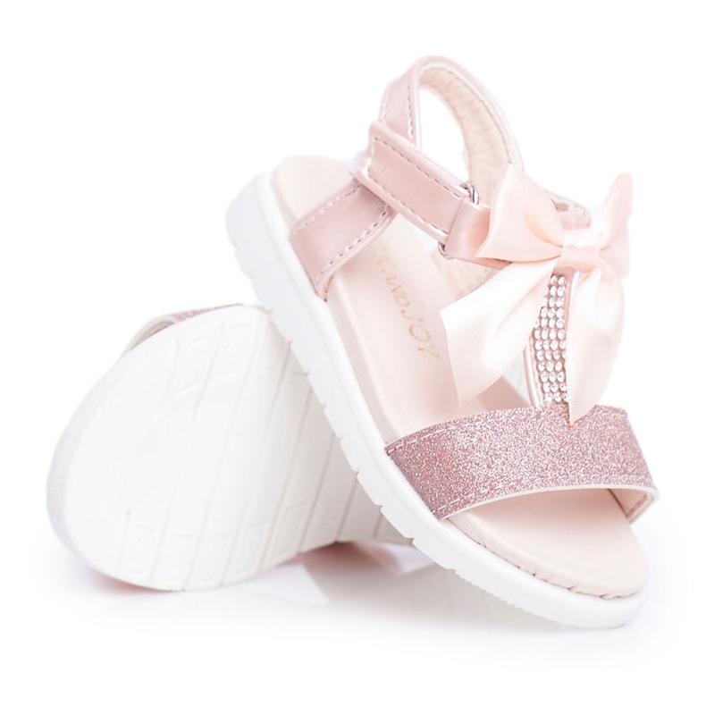 FRROCK Dziecięce Sandałki Na Rzepy Dla Dziewczynki Champagne Bella różowe żółte
