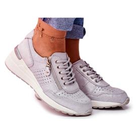 Vinceza Sportowe Damskie Buty Sneakersy Skórzane Srebrne FT20-8675 Better Way szare