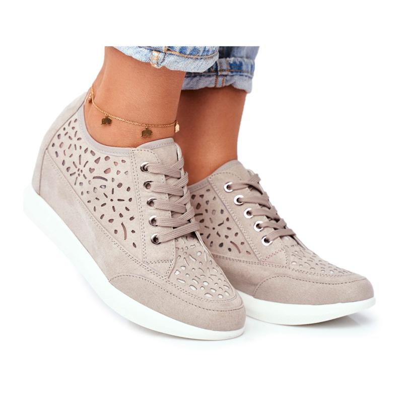 Sneakersy Damskie Sergio Leone Ażurowe Szare PB122