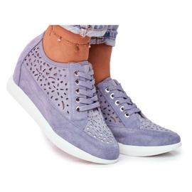 Sneakersy Damskie Sergio Leone Ażurowe Niebieskie PB122