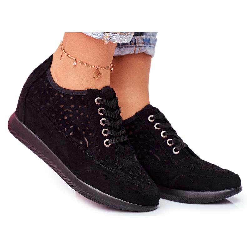 Sneakersy Damskie Sergio Leone Ażurowe Czarne PB122