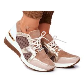 Sportowe Damskie Buty Skórzane Sneakersy Nicole Beżowe 2562 Daina beżowy