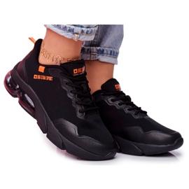Damskie Sportowe Obuwie Sneakersy Big Star Czarne FF274946 pomarańczowe