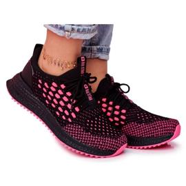 Damskie Sportowe Obuwie Sneakersy Big Star Czarne Fuksja FF274964 różowe