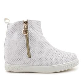 Białe sneakersy botki na koturnie A03