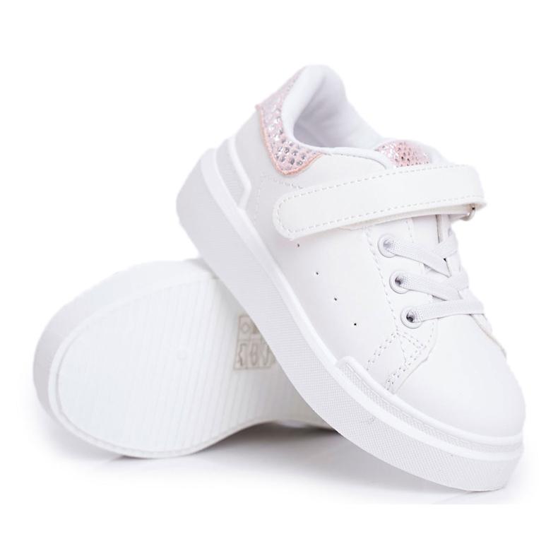 FRROCK Obuwie Sportowe Dziecięce Na Rzep Białe Ilonka różowe