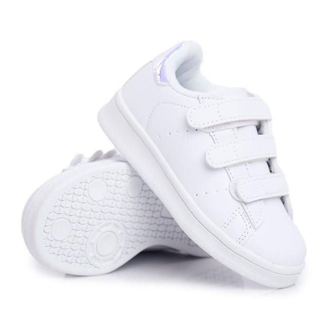 FRROCK Obuwie Sportowe Dziecięce Młodzieżowe Na Rzepy Biało Srebrne Fifi białe