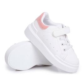 FRROCK Obuwie Sportowe Dziecięce Młodzieżowe Na Rzep Biało Różowe Bilbo białe