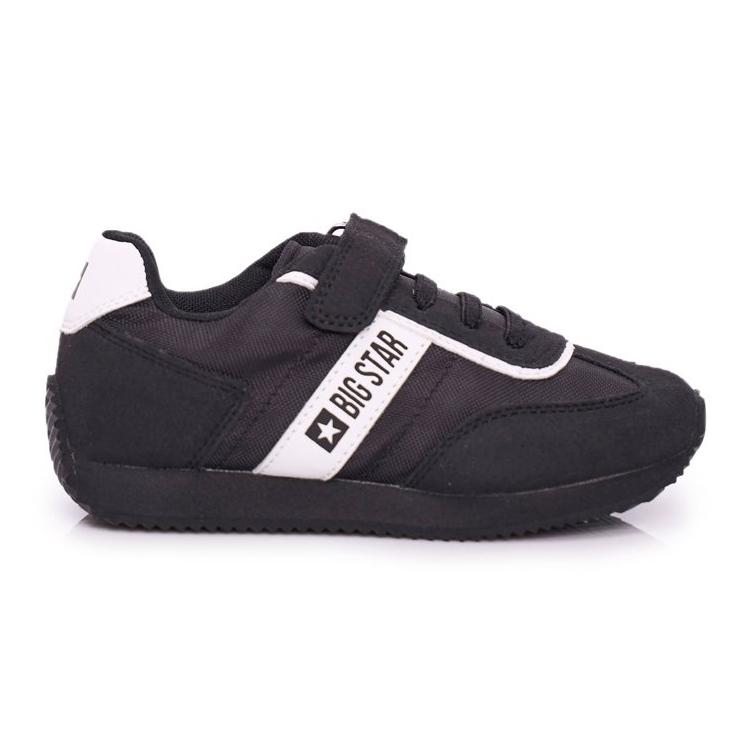 Sportowe Buty Dziecięce Big Star Na Rzepy Czarne FF374134