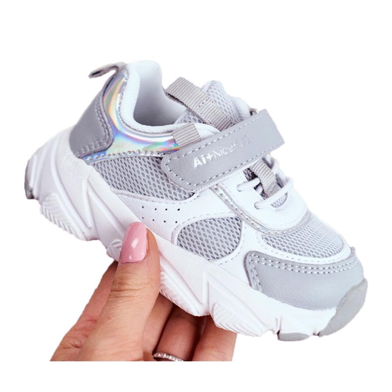 Sportowe Buty Dziecięce Szare ABCKIDS B011104349 białe