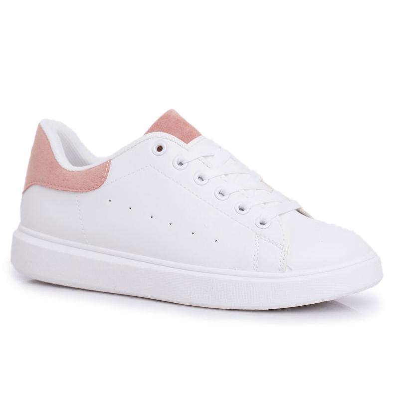 SEA Sportowe Damskie Buty Białe z Różowym Zapiętkiem Milly