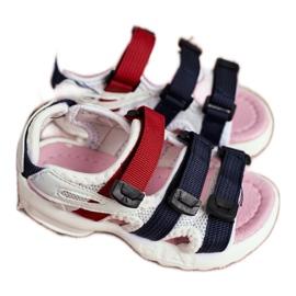 FRROCK Dziecięce Sandały Na Rzepy Dla Dziewczynki Białe Różowe Fima