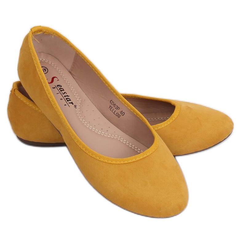 Baleriny gładkie miodowe CD63P Yellow żółte