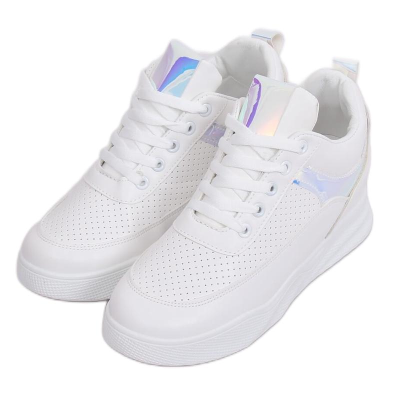 Buty sportowe na koturnie białe 85-429 WHITE/SILVER